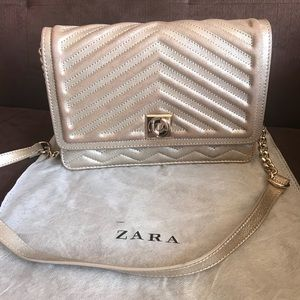 Zara Gold Quilted Crossbody Bag